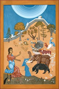 Adam Naming the Animals by Christopher VanDonkelaar. This painting is the culmination of the 100 mile ART Project.